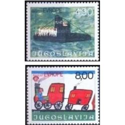 2 عدد تمبر جلسه کودکان اروپائی - یوگوسلاوی 1976