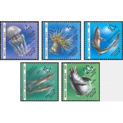 5 عدد تمبر زندگی دریائی - دریای سیاه - شوروی 1991