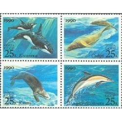 4 عدد تمبر پستانداران دریائی - شوروی 1990 قیمت 2.3 دلار