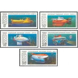 5 عدد تمبر زیردریائی های تحقیقاتی - شوروی 1990