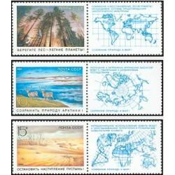 3 عدد تمبر حفاظت از طبیعت با تب - شوروی 1989