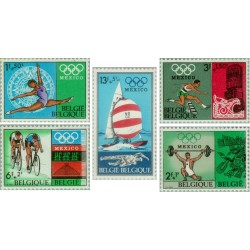 5 عدد تمبر المپیک مکزیکو - بلژیک 1968