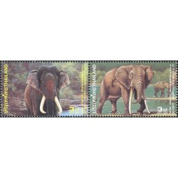 2 عدد تمبر سالگرد روابط دیپلماتیک با آفریقای جنوبی  - فیل آفریقایی و فیل آسیائی-  تایلند 2003 تایلند 2002