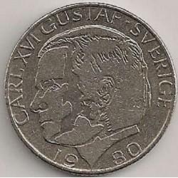 سکه 1 کرون - نیکل مس - سوئد 1980 غیر بانکی