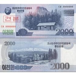 اسکناس 2000 وون - سری وون جدیذ - اسپسیمن - کره شمالی 2008