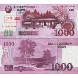 اسکناس 1000 وون - سری وون جدید - اسپسیمن - کره شمالی 2008