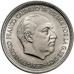 سکه 5 پزتا - مس نیکل - اسپانیا 1957غیر بانکی