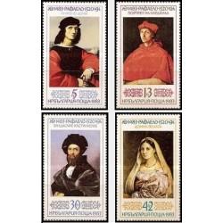 4 عدد تمبر تابلو نقاشی - پانصدمین سالگرد تولد رافائل - بلغارستان 1983