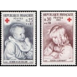 2 عدد تمبر صلیب سرخ  - تابلو - فرانسه 1965