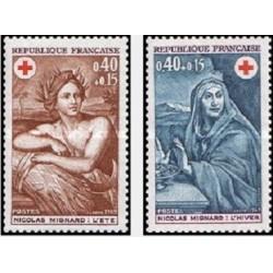 2 عدد تمبر صلیب سرخ  - تابلو - فرانسه 1969