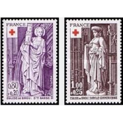 2 عدد تمبر صلیب سرخ  - تابلو - فرانسه 1976