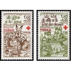 2 عدد تمبر صلیب سرخ  - تابلو - فرانسه 1978