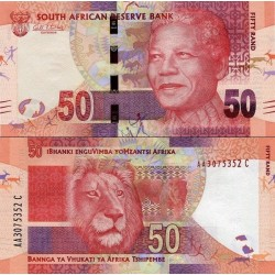 اسکناس 50 رند - تصویر نلسون ماندلا - آفریقای جنوبی 2012