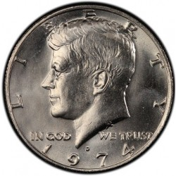 سکه 50 سنت - نیم دلار - نیکل مس - آمریکا 1974 بانکی