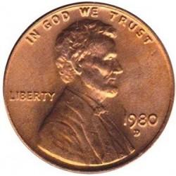 سکه 1 سنت - برنجی - آمریکا 1980غیر بانکی