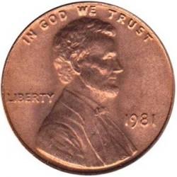 سکه 1 سنت - برنجی - آمریکا 1981غیر بانکی