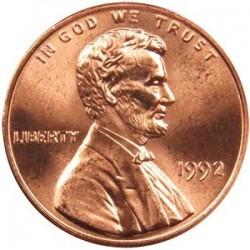 سکه 1 سنت - برنجی - آمریکا 1992غیر بانکی