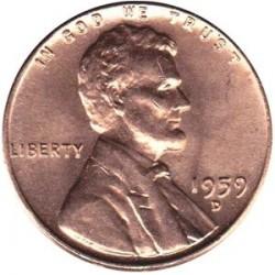 سکه 1 سنت - برنجی - آمریکا 1959غیر بانکی