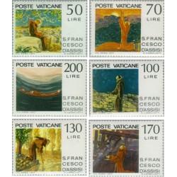 6 عدد تمبر تابلو - فانسیس آسیسی - واتیکان 1977