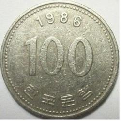 سکه  100 وون  - نیکل مس - کره جنوبی 1986 غیر بانکی