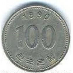 سکه  100 وون  - نیکل مس - کره جنوبی 1990 غیر بانکی