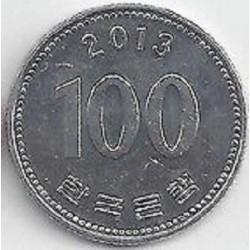 سکه  100 وون  - نیکل مس - کره جنوبی 2013 غیر بانکی