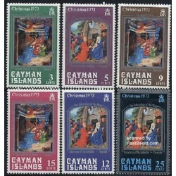 6 عدد تمبر کریستمس - تابلو نقاشی - جزایر کایمن 1973