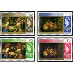 4 عدد تمبر کریستمس - تابلو نقاشی - جزایر کایمن 1968