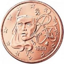 سکه 1 سنت یورو - مس روکش فولاد - فرانسه 1999 غیر بانکی