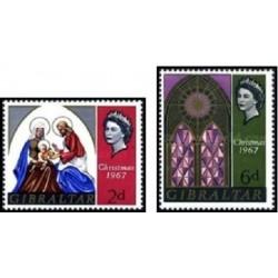 2 عدد تمبر وکریستمس - جبل الطارق 1967