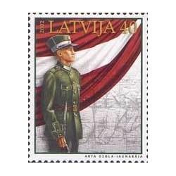 1 عدد تمبر یادبود نیروهای مسلح لتونی - لتونی 2002