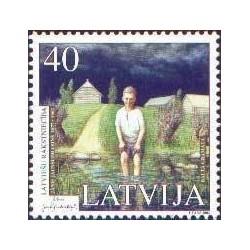 1 عدد تمبر 125مین سال تولد جانیس جانسودرابینش - نویسنده - لتونی 2002