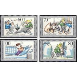 4 عدد تمبر رفاه اجتماعی - 125 سالگی کارتون مکس و موریتز - برلین آلمان 1990 قیمت 10.5 دلار