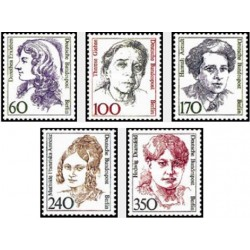 5 عدد تمبر سری پستی زنان نامدار - برلین آلمان 1988 قیمت 19.5 دلار