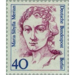 1 عدد تمبر سری پستی زنان نامدار - ماریا سیبیلا مریان - انومیولوژیست - برلین آلمان 1987