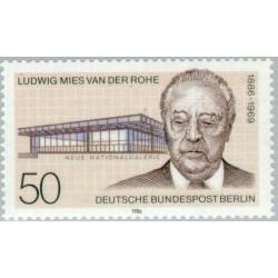 1 عدد تمبر صدمین سال تولد لودویک می یس وندر روه - معمار - برلین آلمان 1986