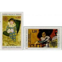 2 عدد تمبر مشترک اروپا - Europa Cept - تابلو نقاشی - فرانسه 1975