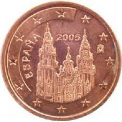 سکه 1 سنت یورو - مس روکش فولاد - اسپانیا 2006 غیر بانکی