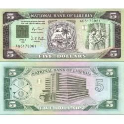 اسکناس 5 دلار - لیبریا 1991