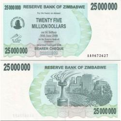 اسکناس 25.000.000 دلار - زیمباوه 2008