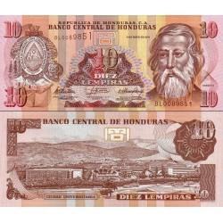 اسکناس 10 لمپیراس - هندوراس 2010