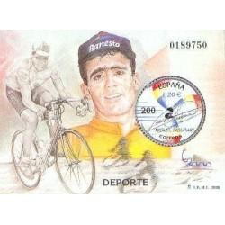 سونیرشیت نمایشگاه بین المللی تمبر  مادرید  2000 - میگوئل ایندورین قهرمان دوچرخه سواری - اسپانیا 2000