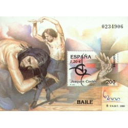 سونیرشیت نمایشگاه بین المللی تمبر  مادرید  2000 - جاکوئین کورتس رقصنده فلامنگو - اسپانیا 2000