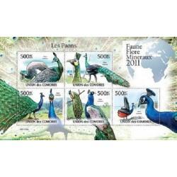 مینی شیت پرندگان - طاووس - 1 - کومور 2011 قیمت 11.64 دلار