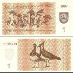 اسکناس 1 تالوناس - لیتوانی 1992