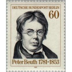 1 عدد تمبر 200مین سال تولد پیتر بیوس - مروج اصلاحات صنعتی  - برلین آلمان 1981