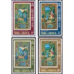4 عدد تمبر کریستمس - صحنه هایی از کتاب ساعتها  - جزایر ترکها و کایکو 1969