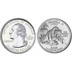 سکه کوارتر - ایالت آلاسکا - آمریکا 2008 غیر بانکی