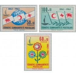 3 عدد تمبر  صدمین سالروز صلیب سرخ - شیر و خورشید - ترکیه 1963