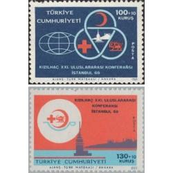 2 عدد تمبر  کنقرانس صلیب سرخ - شیر و خورشید - ترکیه 1969
